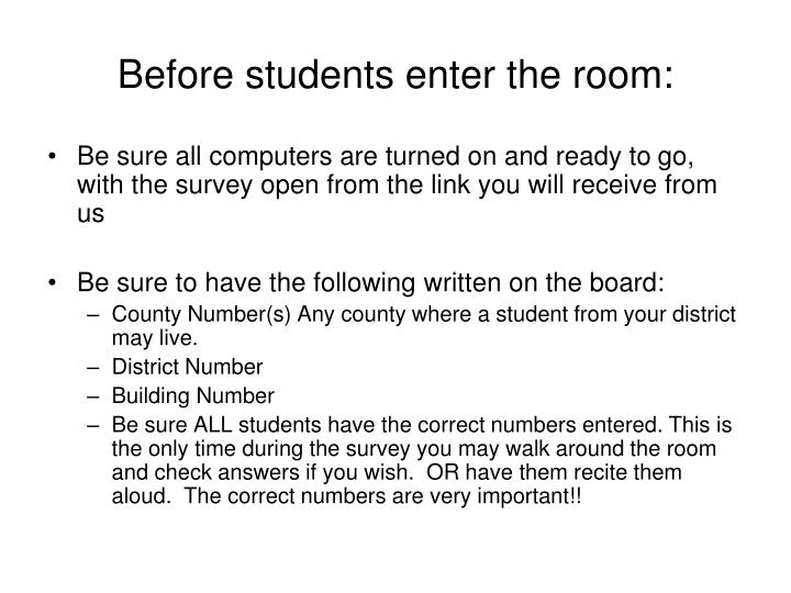 Before students enter the room: