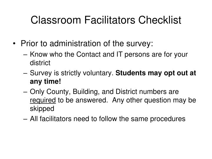 Classroom facilitators checklist