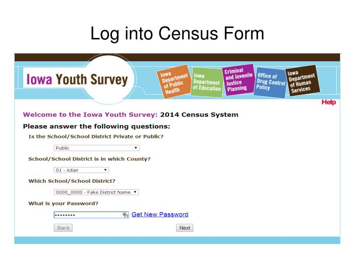 Log into Census Form