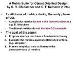 a metric suite for object oriented design by s r chidamber and c f kemerer 1994