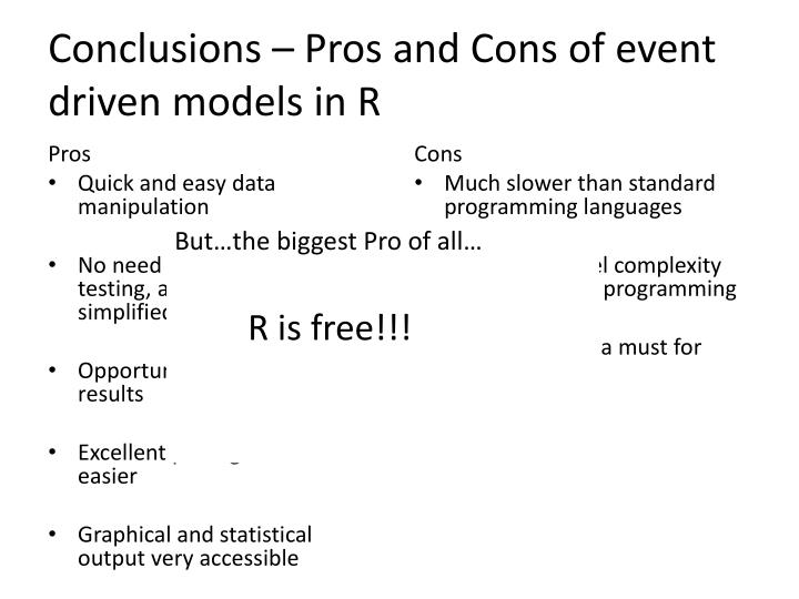 Conclusions – Pros and Cons of event driven models in R