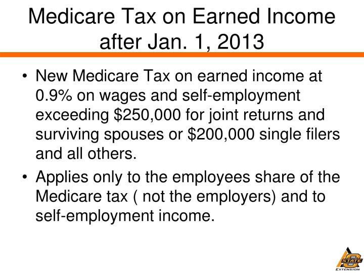 Medicare Tax on Earned Income after Jan. 1, 2013
