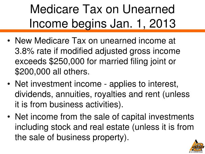Medicare Tax on Unearned Income begins Jan. 1, 2013