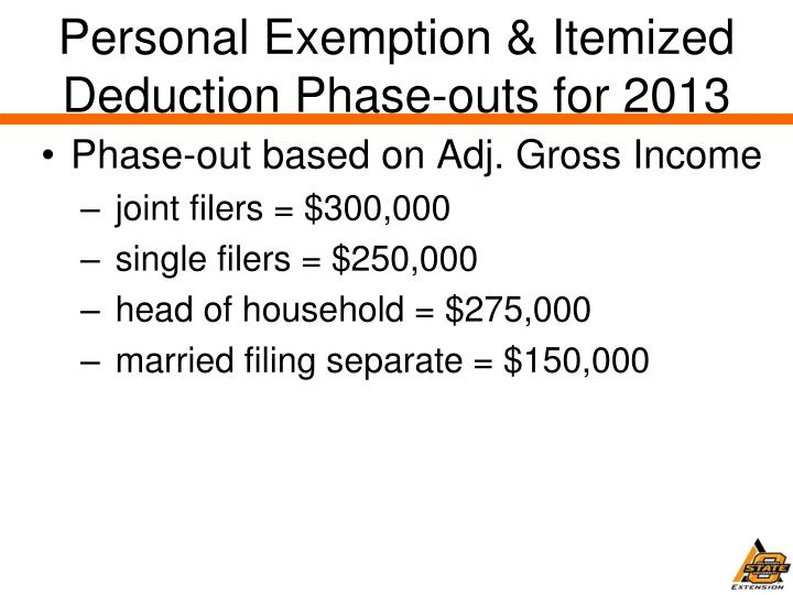 Personal Exemption & Itemized Deduction Phase-outs for 2013