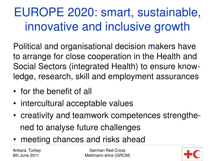 EUROPE 2020: smart, sustainable, innovative and inclusive growth