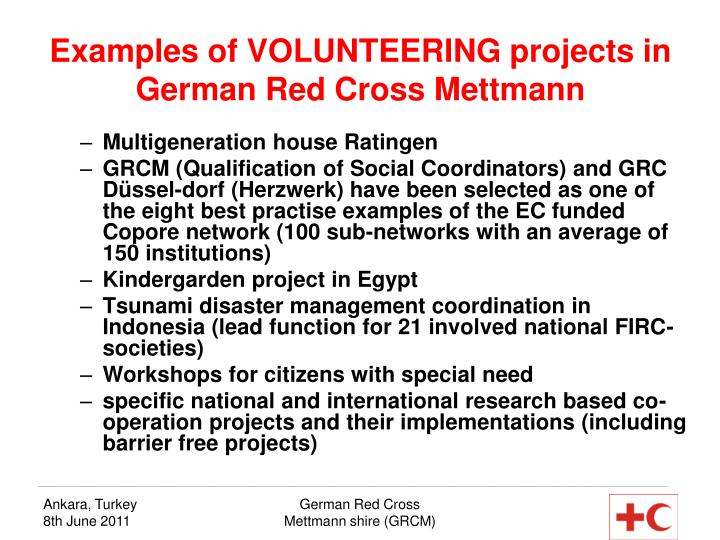 Examples of VOLUNTEERING projects in