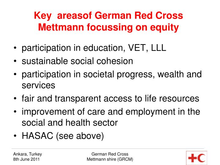 Key  areasof German Red Cross Mettmann focussing on equity