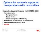 options for research supported co operations with universities