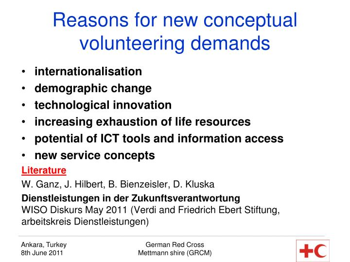 Reasons for new conceptual volunteering demands