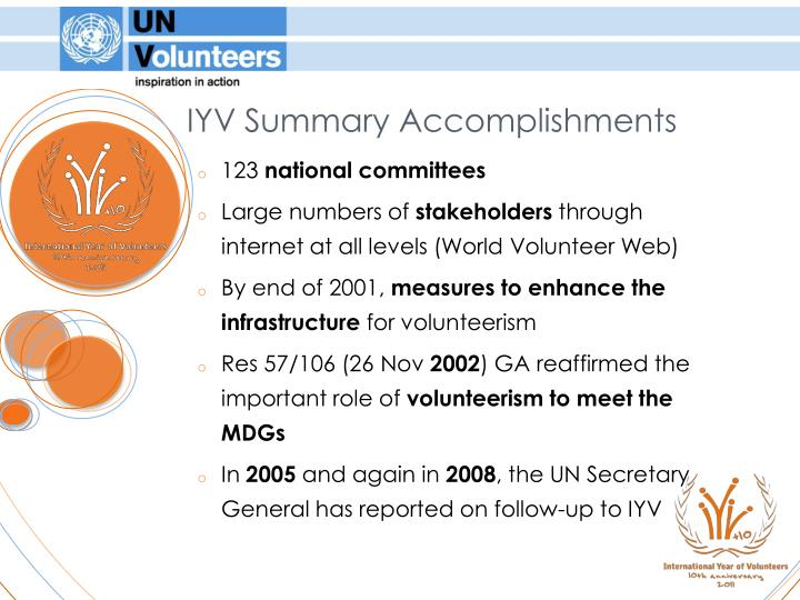IYV Summary Accomplishments