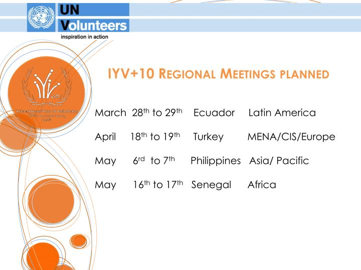 IYV+10 Regional Meetings planned