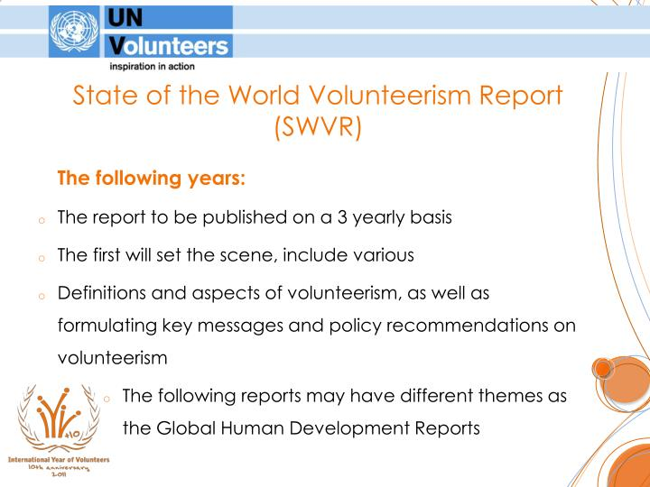 State of the World Volunteerism Report (SWVR)