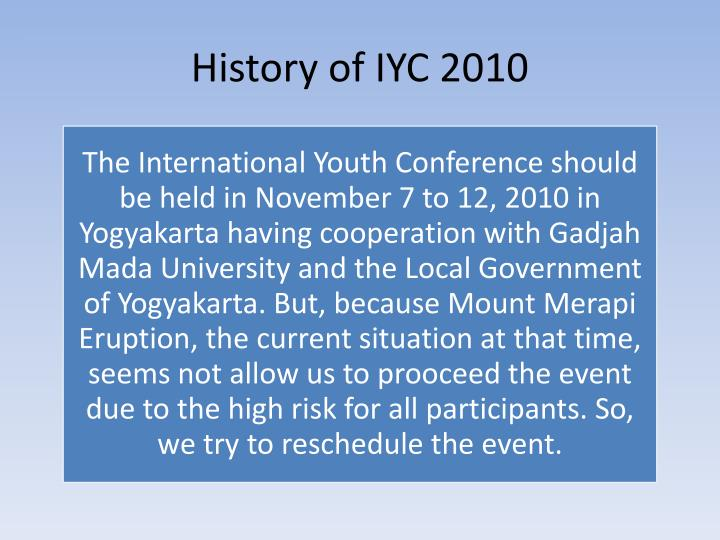 History of IYC 2010