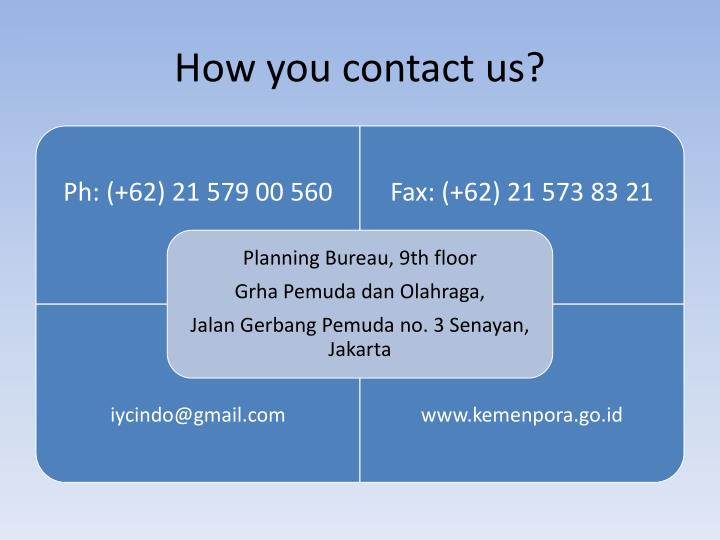 How you contact us?