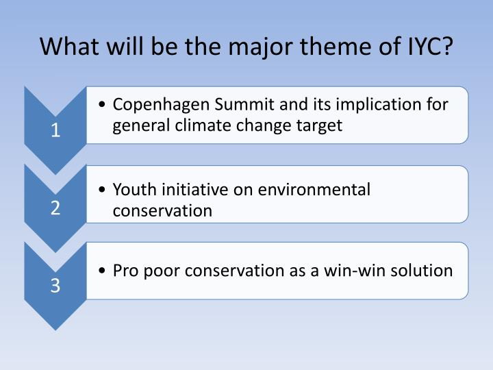 What will be the major theme of IYC?