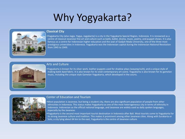Why Yogyakarta?