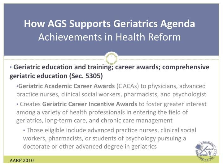 How AGS Supports Geriatrics Agenda
