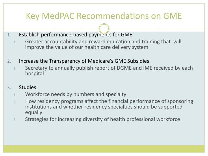 Key MedPAC Recommendations on GME