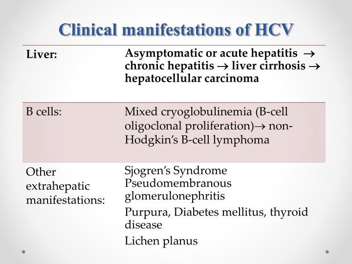 Clinical manifestations of HCV