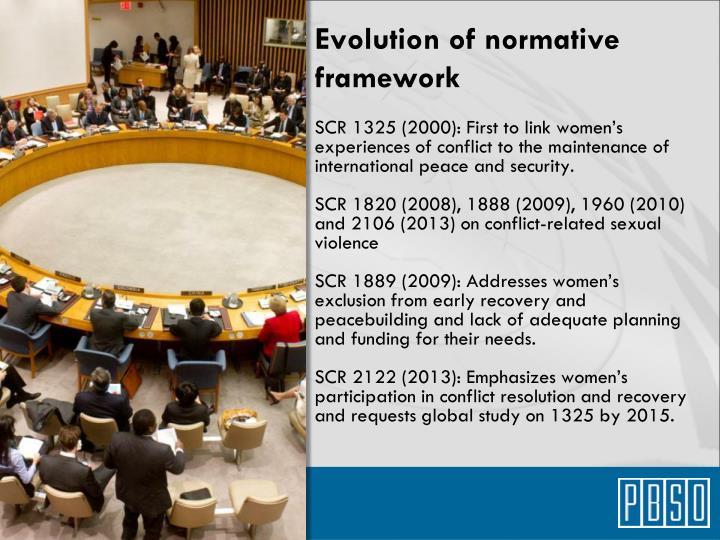 Evolution of normative framework