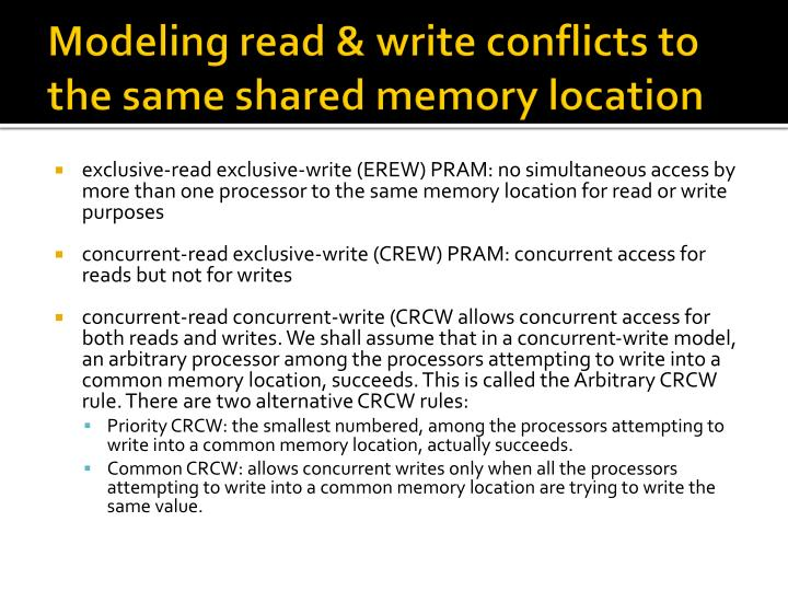 Modeling read & write conflicts to the same shared memory location