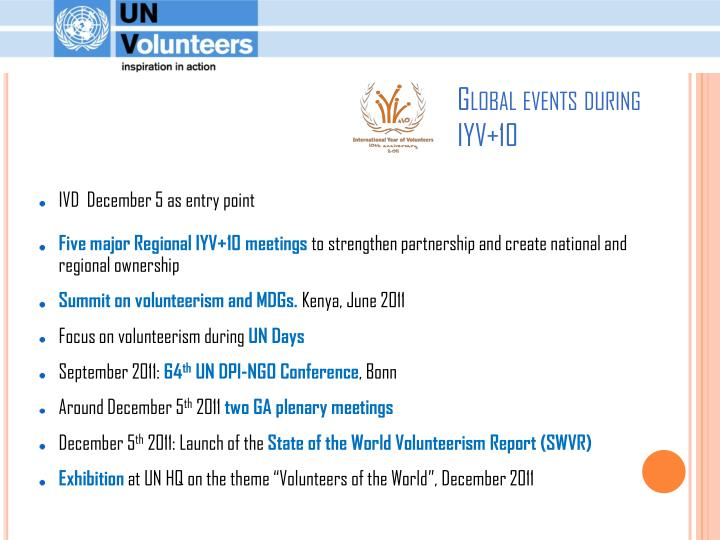 Global events during IYV+10