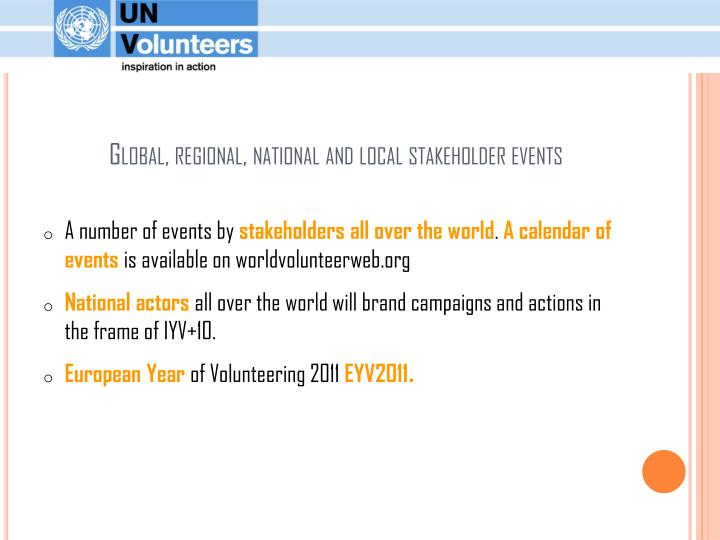 Global, regional, national and local stakeholder events