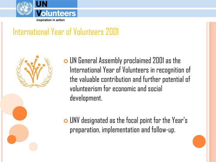 International Year of Volunteers 2001