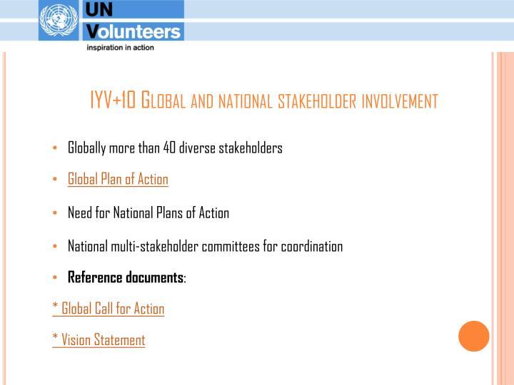 IYV+10 Global and national stakeholder involvement