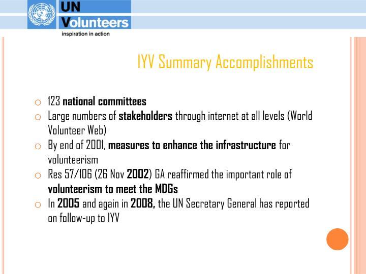 IYV Summary Accomplishments
