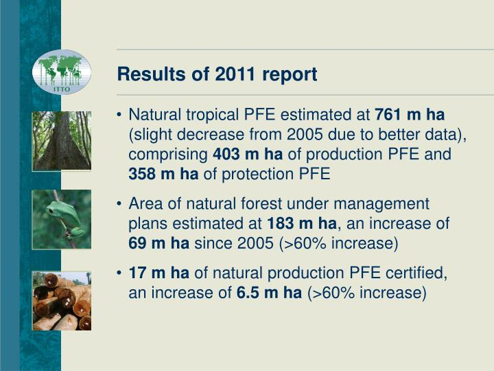 Results of 2011 report