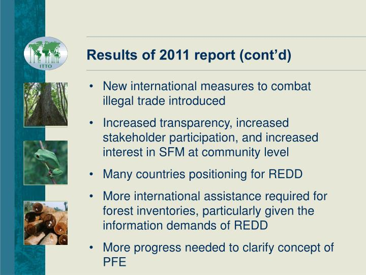 Results of 2011 report (cont'd)
