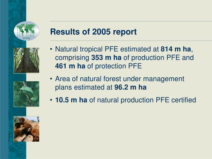 Results of 2005 report