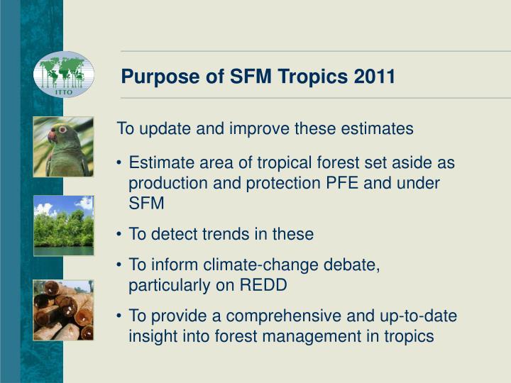 Purpose of SFM Tropics 2011