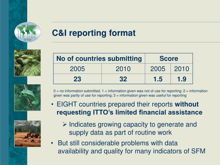 C&I reporting format
