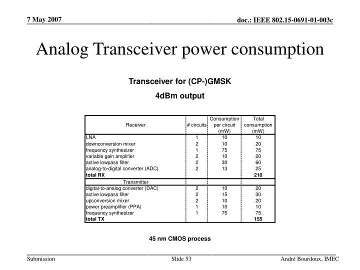 Analog Transceiver power consumption
