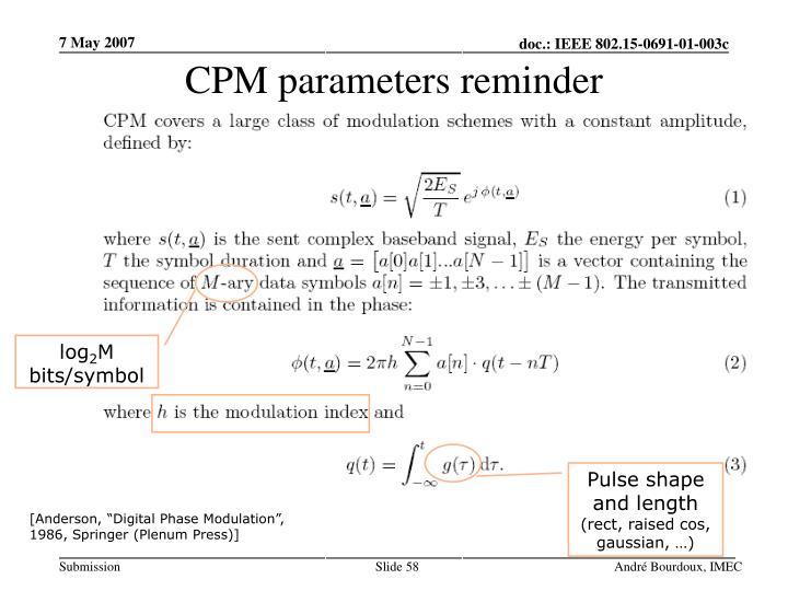CPM parameters reminder