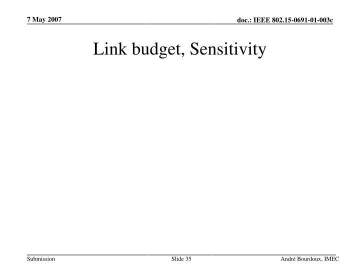 Link budget, Sensitivity