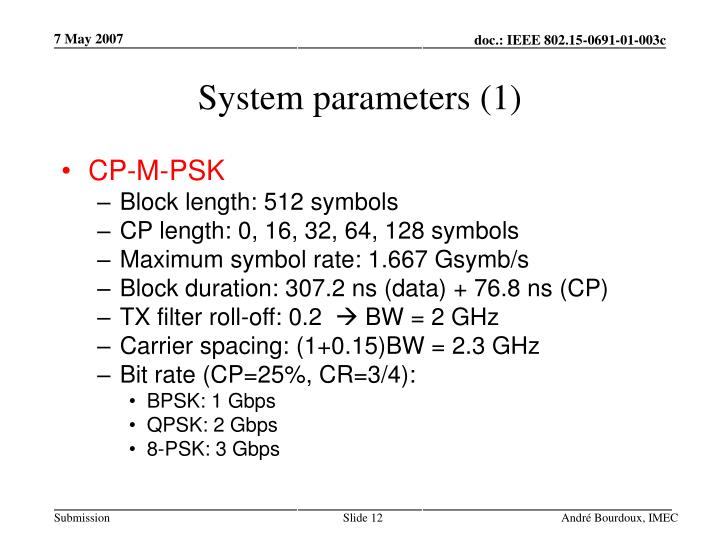 System parameters (1)