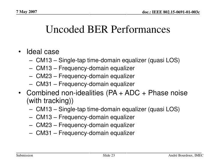 Uncoded BER Performances