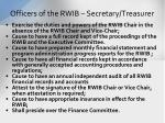 officers of the rwib secretary treasurer