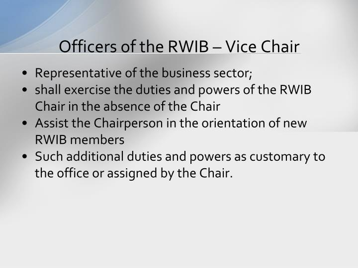 Officers of the RWIB – Vice Chair