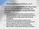 roles and responsibilities con t