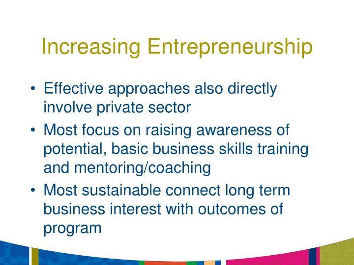 Increasing Entrepreneurship
