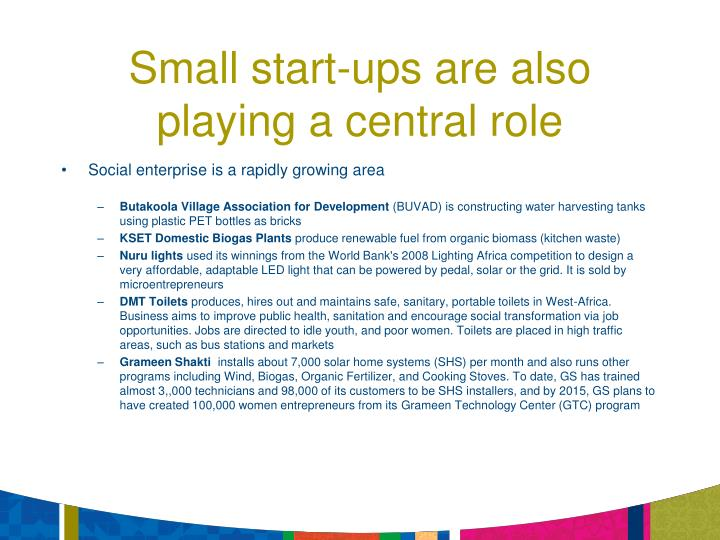 Small start-ups are also playing a central role
