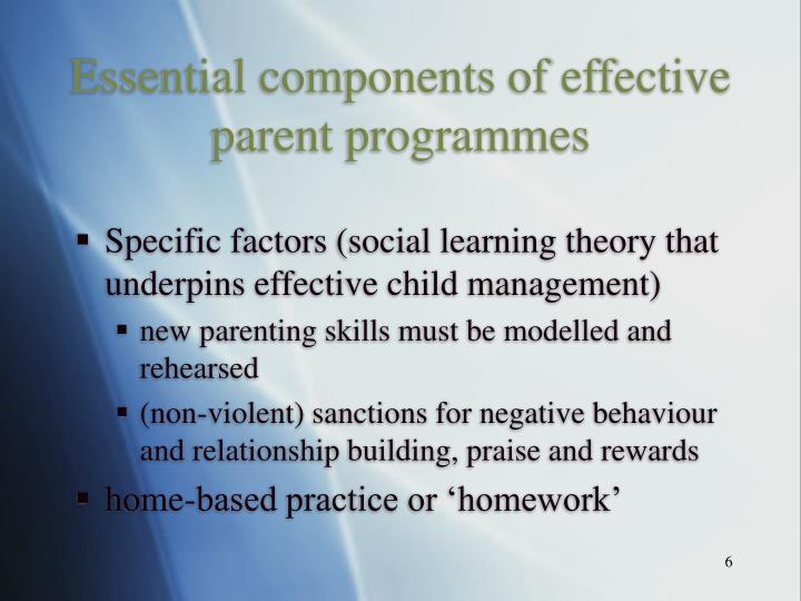 Essential components of effective parent programmes