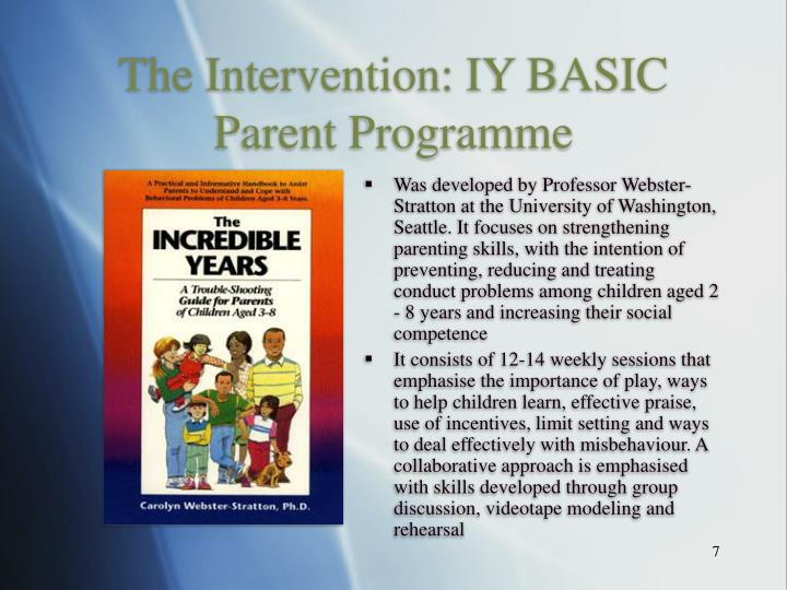 The Intervention: IY BASIC Parent Programme