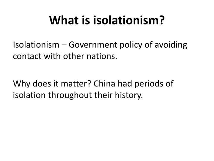 What is isolationism
