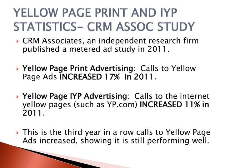 Yellow page print and iyp statistics crm assoc study