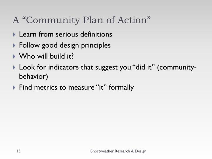 """A """"Community Plan of Action"""""""